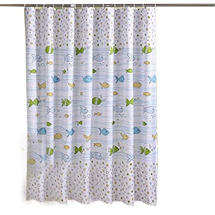 Sfoothome Fresh Fish Printed Pattern Mildew Proof And Waterproof Polyester Fabric Shower Curtain With Free