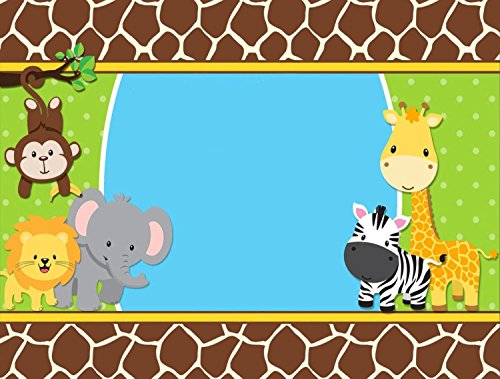 SDore Jungle Animals Baby Shower Edible Birthday 1/2 Sheet Frosting Cake Topper Icing by SDore