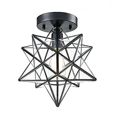 AXILAND Industrial Moravian Star Ceiling Light Fixture Clear Glass Shade