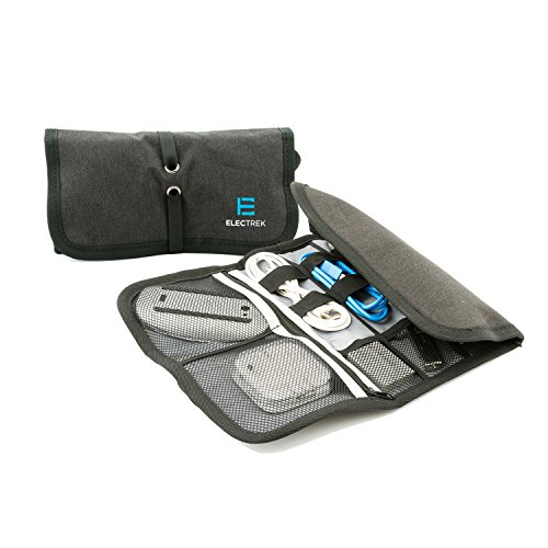 ElecTrek Products Roll-Up Organizer- Compact Water-resistant organizes and protects electronic accessories including adaptors, chargers, USB drives, cables and cords. Perfect for daily use!
