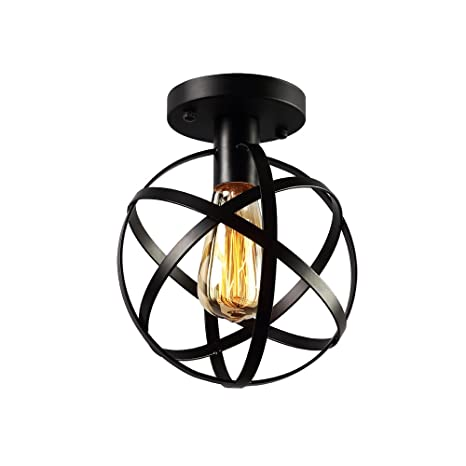 Koonting Vintage Industrial Flush Mount Ceiling Light, Metal Spherical Ceiling Lamp Light Fixture For Hallway Stairway Porch Bedroom Kitchen. by Koonting
