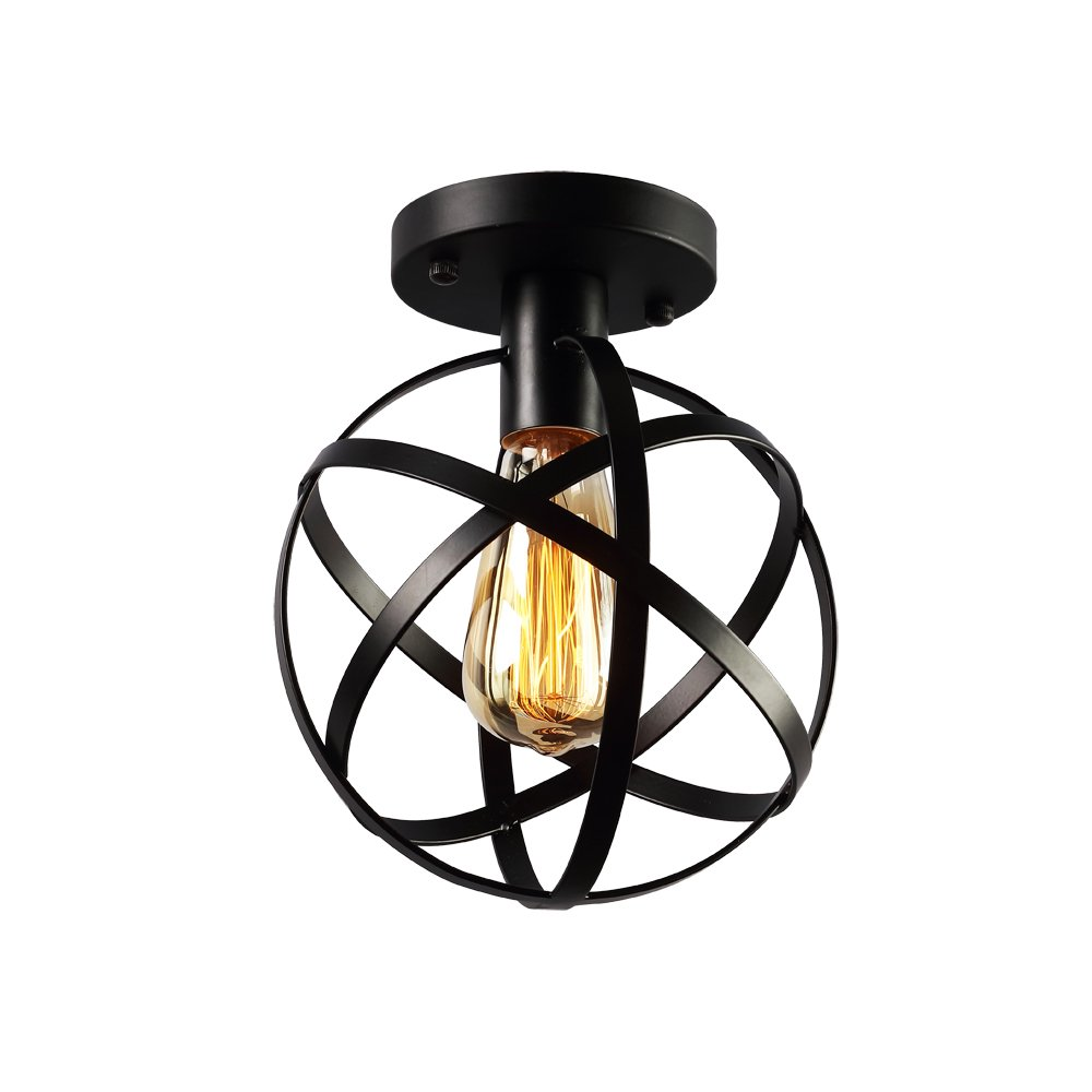KOONTING Vintage Industrial Flush Mount Ceiling Light, Metal Spherical Ceiling Lamp Light Fixture for Hallway Stairway Porch Bedroom Kitchen.