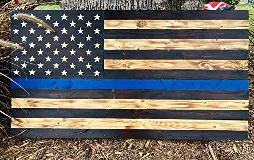 (Premium Rustic Thin Blue Line Wood American Flag | Police | Wall Art Decor | 100% Handmade in the USA | 36