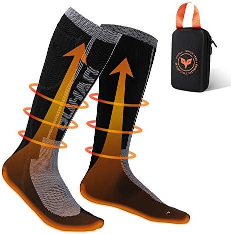 Calcetines Calefactables Electricos para Hombre y Mujer con Remoto Control para Ajustar Temperaturas, Calcetines Térmicos de Invierno con Batería Recargable para Deportes al Aire y Motociclismo