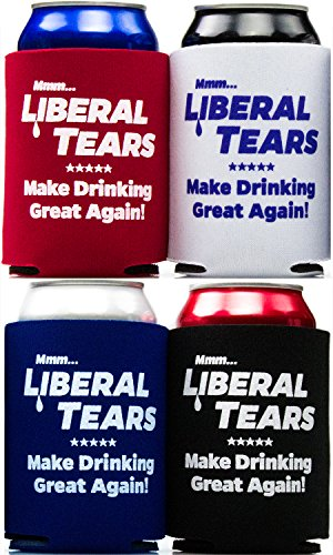 Mmm Beer - America Firsts Mmm...Liberal Tears: Make Drinking Great Again Drink Insulators 4 Pack. Funny Beer Can Covers Are a Hilarious Gag Gift & Novelty Present. Coolers for Men & Women.