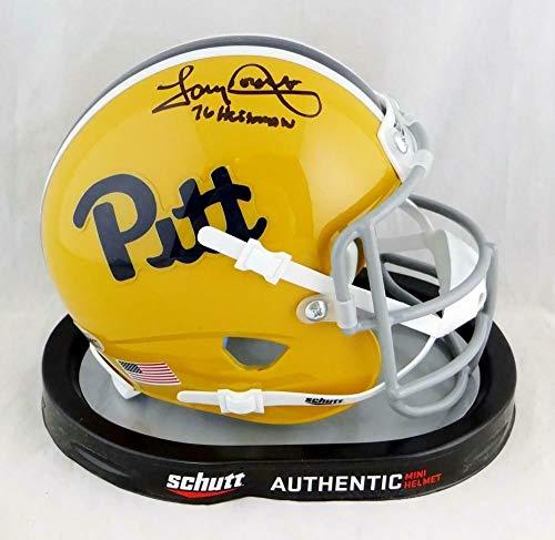 (Tony Dorsett Autographed Signed Pittsburgh Panthers Schutt Mini Helmet with Heisman - Beckett - Certified Signature)