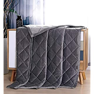 MANLINAR 15lb Weighted Blanket Plush Minky Warm for Adult Weigh 130lbs-170lbs, 48''x72'' Twin/Full Size Heavy Blanket, 100% Natural Crystal Velvet with Premium Glass Beads, Gray