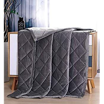 Image of MANLINAR 20lb Weighted Blanket Plush Minky Warm for Adult Weigh 180lbs-220lbs, 60''x80'' Queen/King Size Heavy Blanket, 100% Crystal Velvet with Premium Glass Beads, Gray MANLINAR B07L1TSJYX Weighted Blankets