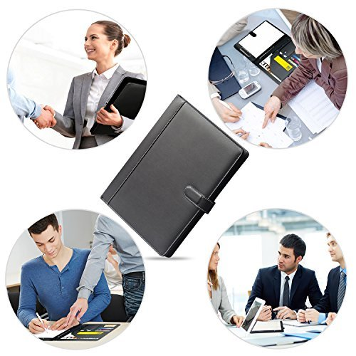 Padfolio Business/Resume Portfolio, AHGXG Leather Folder with Clipboard Document Organizer with Paper Clip, Legal Writing Pad, Pen Holder, Magnetic Closure and Pockets Contrast Stitch for Interview by AHGXG (Image #6)