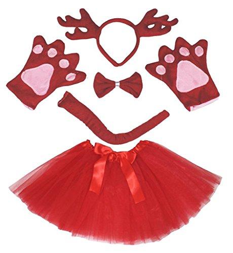 (Petitebella 3D Headband Bowtie Tail Gloves Tutu Unisex Children 5pc Girl Costume (3D Red Deer)