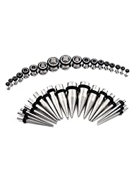 METALIFE 36 Pieces Ear Taper kit and Plugs Stainless Steel 14G - 00G Ear Gauges Kit Stretching Kit - 18 Pairs