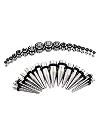 D.Bella 14G-00G 36 pcs Ear Gauges Stretching Kit Tapers Plugs Eyelets Implant Grade Steel