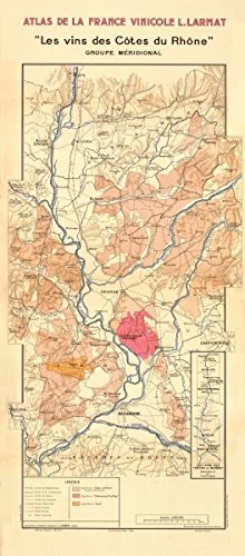 RHÔNE WINE MAP South. Châteauneuf-du-Pape, Tavel & Côtes du Rhône. LARMAT - 1943 - old map - antique map - vintage map - printed maps of France