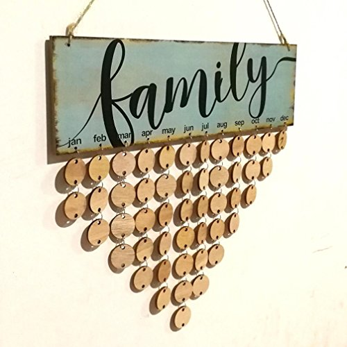 Wood Plaque Calendar DIY Hanging On Wall Birthday Reminder Board Sign Family Friends Home Decor (D) (Wood Plaque Board)