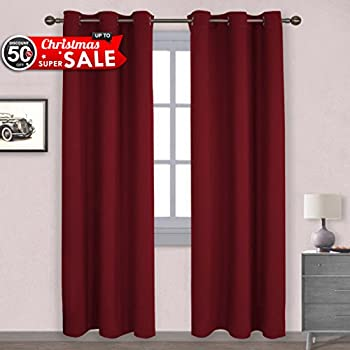 NICETOWN Christmas Curtain Xmas Home Decor Thermal Insulated Solid Grommet  Top Blackout Living Room Curtains /