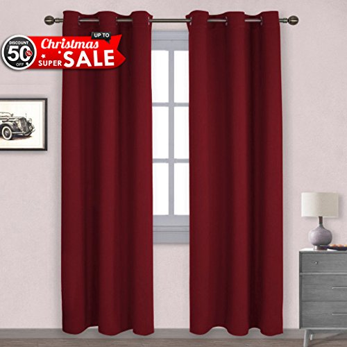 NICETOWN Christmas Curtain Xmas Home Decor Thermal Insulated Solid Grommet  Top Blackout Living Room Curtains / Drapes For Winter (One Pair,42 X  84 Inch,Red)