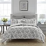 Laura Ashley Annalise Floral Comforter Set, Twin, Gray