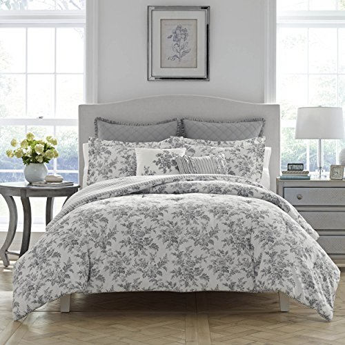 Top Laura Ashley Annalise Floral Comforter Set, King, Gray hot sale