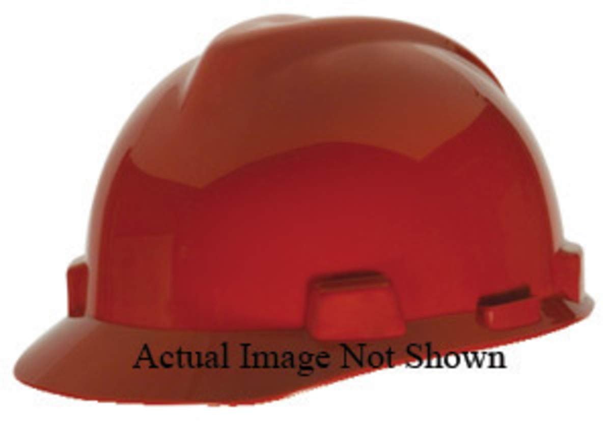 MSA Hi-Viz Orange Polyethylene Cap Style Hard Hat With 4 Point Ratchet Suspension - Pack of 12