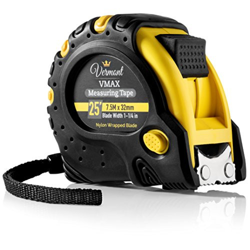 Vermont 25-Foot Tape Measure - Retractable Measuring Tape With Nylon Wrapped Blade, Magnetic Hook & Soft Rubber Cover | Sturdy, Impact Resistant, Heavy-Duty Ruler. Inches and Metric Measurement.