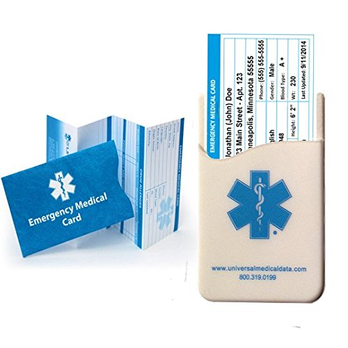 - Pack of 4 Emergency Medical ID Cards and Tyvek Sleeves ***BONUS*** Silicone In Case of Emergency Medical Card Holder