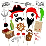 Pirate Photo Booth Props DIY Kit Dress-up Accessories for Fun Reunions Birthdays Family Party 22 pieces