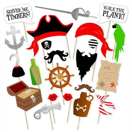 Pirate Photo Booth Props DIY Kit Dress-up Accessories for Fun Reunions Birthdays Family Party, 22 pieces -