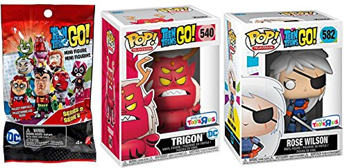 AYB Exclusive Rose Wilson Trigon Teen Titans Go! Pop! Figure Pack Exclusive TRU #540 Vinyl Collectible + #582 & Bonus Blind Bag Mystery Character Figure Series 2