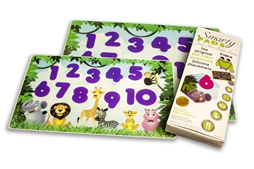 Smarty Pads Reusable Silicone Placemats with Slightly Embossed Numbers, Jungle Animals