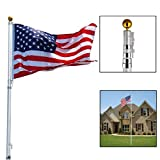 20ft Aluminum Telescoping Flagpole Kit Outdoor Gold Ball and 1 Us America Flag by JDM Auto Lights