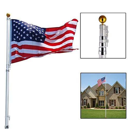 20ft Aluminum Telescoping Flagpole Kit Outdoor Gold Ball and 1 Us America Flag by JDM Auto Lights by JDM Auto Lights