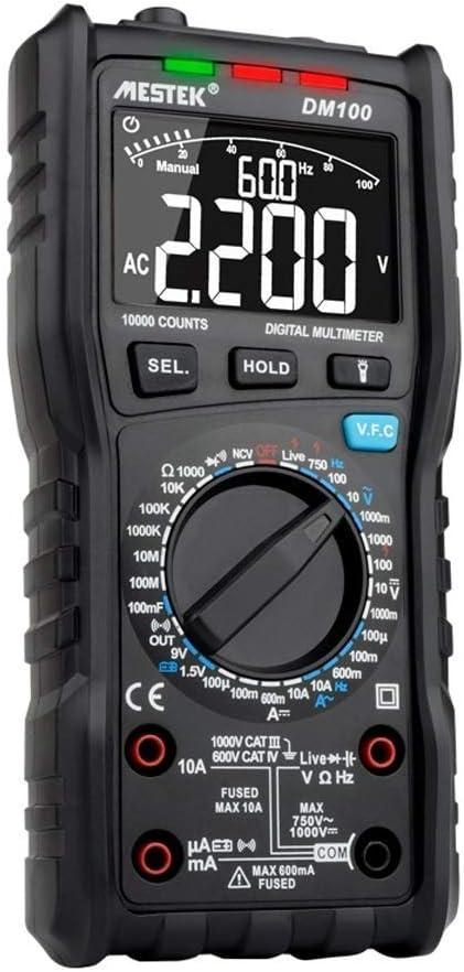 Yadianna Portable DM100 10000 Counts Digital Multimeter High Speed Smart Double Core T-rms NCV Temp multimetro Anti-burn Fuse Alarm Multimeters Scientific Products