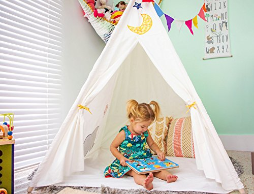 (Kids Teepee Tent - Large 6 ft Durable with Window and Floor, Carry Bag and Bunting Flags - Popular Gift for Boys, Girls - Christmas and Birthdays. Perfect Indoor Outdoor Playhouse Daycare Nursery)