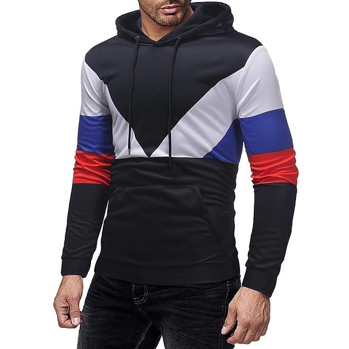 Sudadera Hombre, Felz Suéter Sweatshirt de Impresión de Costura Sudadera con Capucha para Hombre Sudadera Casual Hoodies para Otoño e Invierno (M-3XL): ...