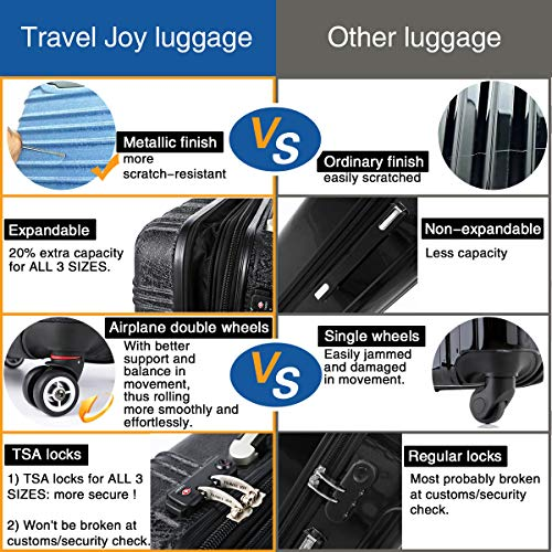 Expandable Carry On Luggage, Lightweight Spinner Carry Ons, Travel Collection TSA Carry On Luggage 20 inches (Pink) by Travel Joy (Image #2)