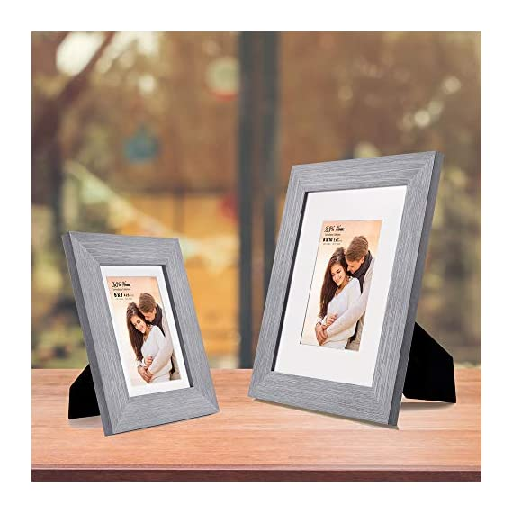 LaVie Home 8x10 Picture Frames (3 Packs, Gray) with Flat Mat for 5x7 Photo and High Definition Glass, for Wall Mount & Tabletop Display, Set of 3 Serendipity Collection - ELEGANT DESIGN - LaVie Home 8 x 10 picture frame is designed with a wide frame, slightly woodgrain pressing process makes it comparable with the solid wood frame. It looks bright and tasteful, fits any decor,whether it's modern or vintage. HIGHEST QUALITY - Crafted by Durable PS (acrylic-resin) molding construction, clean lines with attractively artificial wood texture finished. Every frame made with perfect attention to details. WALL MOUNT or TABLE TOP - Includes hanger hooks to easily hang artwork or photographs in either portrait or landscape orientation. Versatile kickstand easel lets you display horizontally or vertically to fit in the space available. - picture-frames, bedroom-decor, bedroom - 51 qknh%2BHkL. SS570  -