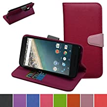 Nexus 5X 2nd Gen Case,Mama Mouth [Stand View] Flip Premium PU Leather Stand [Wallet Case] With Built-in ID Credit Card / Cash Slots Cover For LG Nexus 5X 2nd Generation 2015,Rose Red