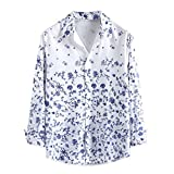 LEKODE Men T-Shirts Brief Printed Lapel Comfort Pullover Soft Winter Tunic(Blue,XL)