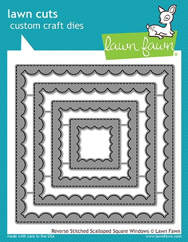(Lawn Fawn Reverse Stitched Scalloped Square Windows Custom Craft Die (LF1799))