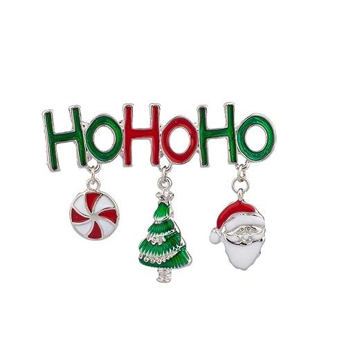 Ho Ho Ho Merry Christmas.Lux Accessories Ho Ho Ho Merry Christmas Xmas Santa Claus Candy Tree Brooch Pin