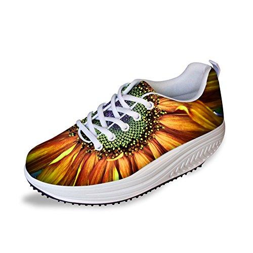 Flower Print Women's Flowe7 HUGSIDEA Ups Walking Sneaker Stylish Platform Rose Shape 5AIttxp