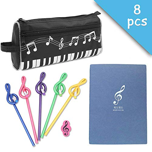 (Music Notes Theme Stationery Set 8 Pieces Include 1 Piano Pattern Pen Case 1 Note Notebook 1 Eraser 5 Pencils for for Students Kids Study Gift)