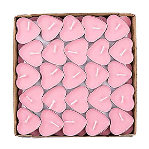 MoGist 50 Pcs Candle Tea Lights Love Heart Candles Set Floating Smokeless Romantic Candle for Valentine's Day Wedding Decoration (Pink)