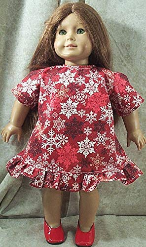 Doll Clothes Made2 Fit American Girl 18 Holiday Dress Pinafore Snowflakes Red
