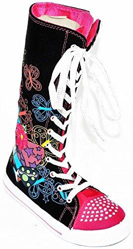 Flickor Barn Nya Dev-10 Duk Höga Punk Skridsko Klassiska Dans Boot Gymnastikskor, Överväga Att Gå En Storlek Upp Svart-3