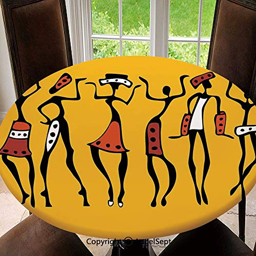 - Elastic Edged Round Tablecloth African Dancers Sketchy Characters Ethnic Group Clan Disco Happy Graphic for Thanksgiving, Catering Events, Dinner Parties, Special Occasions or Everyday Use, 55