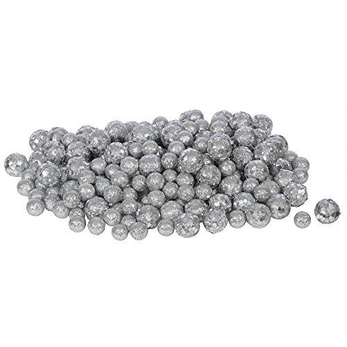 - Vickerman 60ct Silver Sequin and Glitter Christmas Ball Decorations 0.8