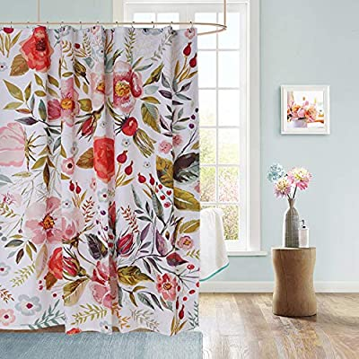 Uphome Floral Fabric Shower Curtain, Waterproof Colorful Chic Rose Flower Bathroom Polyester Shower Curtain for Bathtub Showers, 72x72 - 【Durable Fabric】 This polyester shower curtains crafted with made of heavy duty fabric ensures long-lasting use and elegant floral design fresh color easy to update bathroom decor theme 【Raincoat Waterproof Technology】 This flower shower curtain is water repellent. It features raincoat waterproof technology which allowed water to easily glide off and resist soaking, work perfectly without a liner. 【Quality Construction】This colorful shower curtain constructed reinforced rustproof metal grommets for easy hanging. 12 strong plastic hooks, easy maintainance, Just toss it in the washing machine tumble dry low, the Color will stay nice and vibrant for years. - shower-curtains, bathroom-linens, bathroom - 51 qmyb4g L. SS400  -