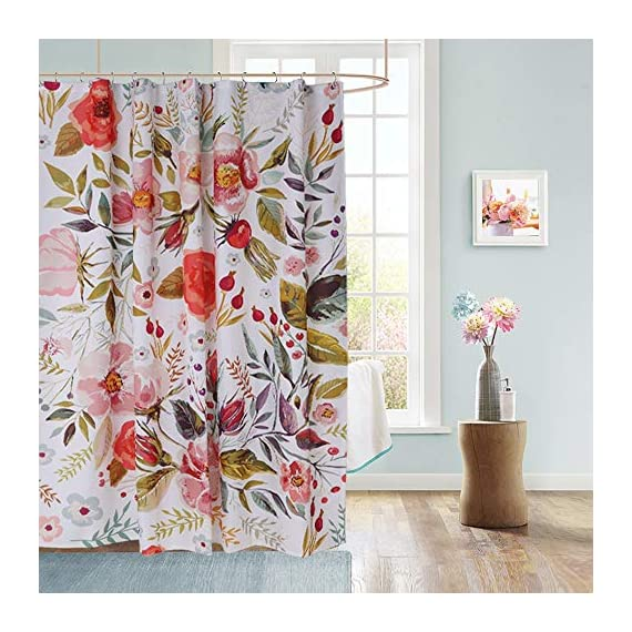 Uphome Floral Fabric Shower Curtain, Waterproof Colorful Chic Rose Flower Bathroom Polyester Shower Curtain for Bathtub Showers, 72x72 - 【Durable Fabric】 This polyester shower curtains crafted with made of heavy duty fabric ensures long-lasting use and elegant floral design fresh color easy to update bathroom decor theme 【Raincoat Waterproof Technology】 This flower shower curtain is water repellent. It features raincoat waterproof technology which allowed water to easily glide off and resist soaking, work perfectly without a liner. 【Quality Construction】This colorful shower curtain constructed reinforced rustproof metal grommets for easy hanging. 12 strong plastic hooks, easy maintainance, Just toss it in the washing machine tumble dry low, the Color will stay nice and vibrant for years. - shower-curtains, bathroom-linens, bathroom - 51 qmyb4g L. SS570  -