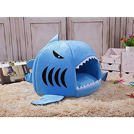 Huertuer Cama para Mascotas Lindo Tibio Interior Forma de tiburón Perro Gato sofá Cama Cachorro Gatito Cama Mat_Blue M Cama para Cachorros: Amazon.es: ...